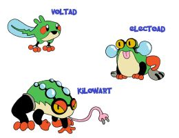Electric-type PokeFrogs by raymondthefrog