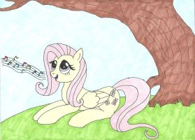 Fluttershy Singing  By A Tree by Snowblitz227