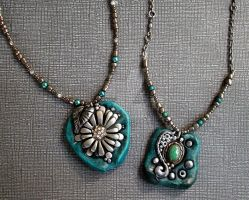 Turquoise, Silver and Polymer Clay Necklaces by MandarinMoon