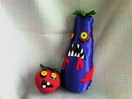 Zombie Eggplant and Tomato by drefea