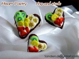 Heart Pastry, ring and studs by Sandien