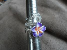 silver woven plumeria flower ring by Toowired