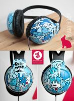 Bunny Crowd Headphones by Bobsmade