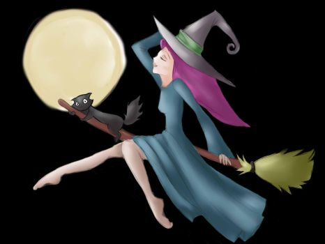witch and cat fly by etteleen