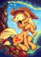 Applejack BronyCon Card by Hallogreen