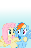 Fluttershy and Rainbow Dash iPod/iPhone Wallpaper by AlphaMuppet