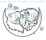 Resting Wolf In Moon Lineart by WildSpiritWolf