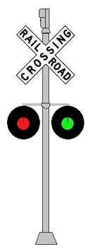 Railroad Crossing Signal with Red and Green Light by WillM3luvTrains
