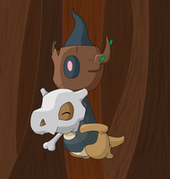 Cubone and Phantump by ZenMalice