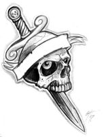 Dagger and Skull Tattoo Flash by TheMacRat