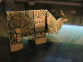 Dollar Bill Origami Elephant by booklover1997