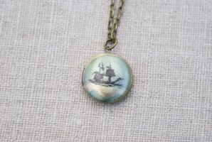 Pirate Ship Locket Necklace by MonsterBrandCrafts