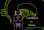 Courage vs Aliens by CocoTheWolf