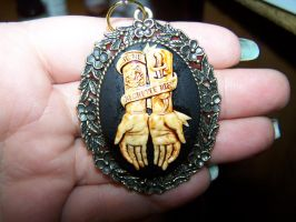 Tattoo Art 'Regrette Rien' Cameo necklace by whimsyandmalice