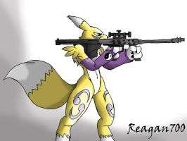 Renamon with a barret by Reagan700