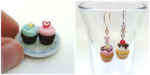 Miniature Cupcakes and Earrings by minivenger