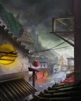 chinese medieval town by biniolthezebr