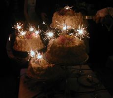 small wedding cakes w sparkler by Exor-stock