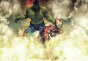Hulk vs Iron Man by hiram67
