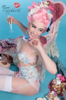 Marie antoinette lingerie blue flower by BlackNorns