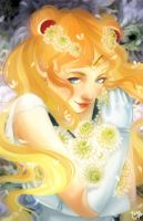 Sailor Moon - White Chrysanthemums by MelodyMoore