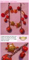Red copper earrings by fairy-cakes