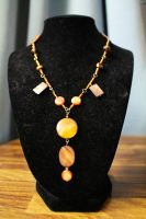 Golden Brown and Orange Necklace by DanikaMilles