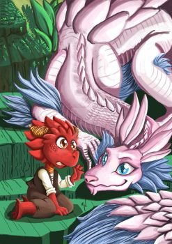 Pink dragon and little dragonborn by Dunya-lun-chan