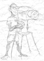 Monkey With A Camera Sketch by queenelizathedog