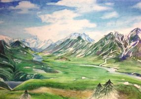 Watercolor Alaskan Landscape by Mysticalpchan