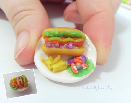 Polymer clay Hot dog by SweetIva