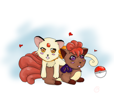 Vulpix persian bffs by pixelated-nightmare