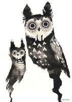 Ink owls by Myrntai