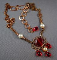 Champagne and Rouge Necklace by jujusjewelry