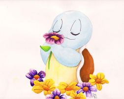 Squirtle in the Tall Grass by PlayervsPaint