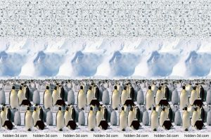 Emperor Penguins. Stereogram by 3Dimka