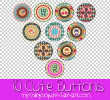 10 Cute Buttons PNG by MyShinyBoy