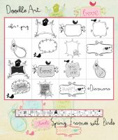 DoodleArt Spring Frames with Birds by Diamara