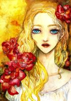 girl with flowers by whro