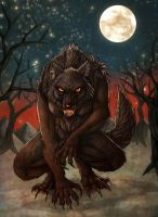 Black female werewolf by fiszike