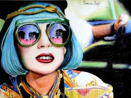 Lady Gaga Color Drawing by Irishaaa