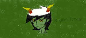 Tablet Headshot of my Matesprit's Fantroll Ropian by CALIBORNOuS