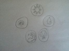 Magic the Gathering: Five Mana Symbols by RecklessWizard231