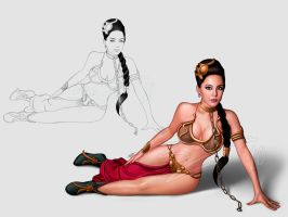 Line to color princess leia by sanjun