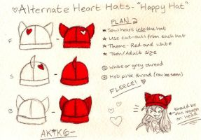 + Design For Plain Heart Hat + by Akiko-Hats