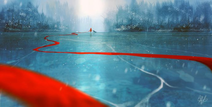 Frozen Lake - Speedpainting exercise by mohn-blume