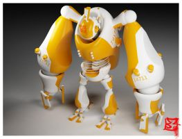 14711 Orange Robot by Genta49