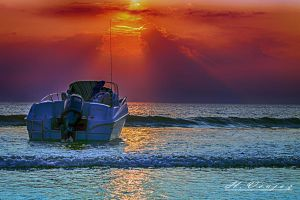 sunset has Carolles Manche France by hubert61