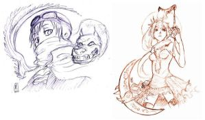 GAIA: lineart examples by pure-forest