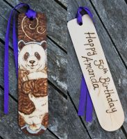 Pyrography Panda Bookmark Commission by BumbleBeeFairy